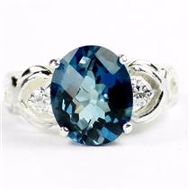 SR243, London Blue Topaz, 925 Sterling Silver Ladies Ring