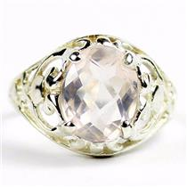Rose Quartz,925 Sterling Silver Ladies Ring, SR004
