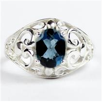 London Blue Topaz, 925 Sterling Silver Ladies Ring, SR111