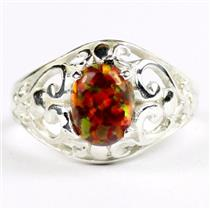 Created Red Brown Opal, 925 Sterling Silver Ladies Ring, SR111