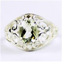 Green Amethyst (Prasiolite), 925 Sterling Silver Ladies Ring, SR111