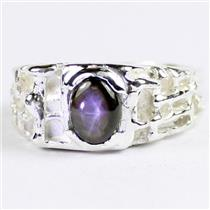 SR197 Black Star Sapphire, 925 Sterling Silver Men's Ring