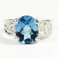 London Blue Topaz, 925 Sterling Silver Ladies Ring, SR369