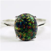 Created Black Opal, 925 Sterling Silver Ladies Ring, SR055