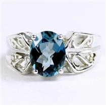 London Blue Topaz, 925 Sterling Silver Ladies Ring, SR281