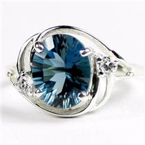 SR021, London Blue Topaz Quantum Cut, 925 Sterling Silver Ring