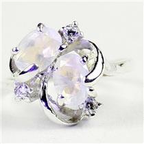 SR016,  Rainbow Moonstone, 925 Sterling Silver Ladies Ring