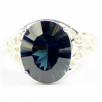London Blue Topaz (concave cut), 925 Sterling Silver Ladies Ring, SR057