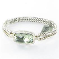 David Yurman Albion Prasiolite 0.44ct Diamond Bangle Bracelet Sterling NWT $2300