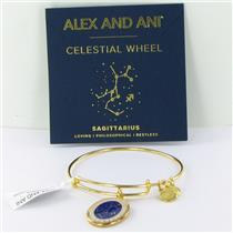 Alex and Ani Sagittarius Celestial Wheel Gold Bangle Bracelet A15EB66YG NWT Box