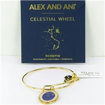 Alex and Ani Scorpio Celestial Wheel Gold Bangle Bracelet A15EB67YG NWT Box