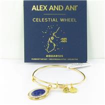 Alex and Ani Aquarius Celestial Wheel Gold Charm Bangle Bracelet A15EB59YG NWT