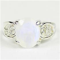 Rainbow Moonstone, 925 Sterling Silver Ladies Ring, SR369