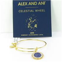 Alex and Ani Leo Celestial Wheel Shiny Gold Bangle Bracelet A15EB63YG NWT Box