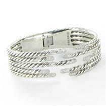 David Yurman Five Row Willow Diamond Hinged Bracelet 1.53cts Sterling New $4200