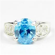 Swiss Blue CZ, 925 Sterling Silver Ladies Ring, SR369