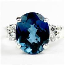 London Blue Topaz, 925 Sterling Silver Ring, SR123