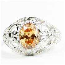 Champagne CZ, 925 Sterling Silver Ladies Ring, SR111