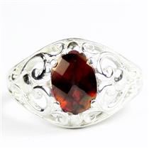 Crimson Fire Topaz, 925 Sterling Silver Ladies Ring, SR111