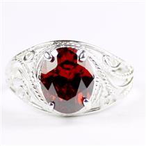 Garnet CZ, 925 Sterling Silver Ladies Ring, SR083