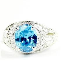 Swiss Blue CZ, 925 Sterling Silver Ladies Ring, SR083