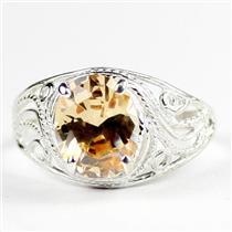 Champagne CZ, 925 Sterling Silver Ladies Ring, SR083