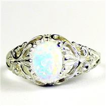 Created White Opal, 925 Sterling Silver Ladies Ring, SR113