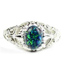 Created Blue Green Opal, 925 Sterling Silver Ladies Ring, SR113