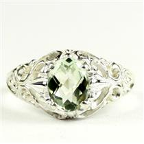 Green Amethyst, 925 Sterling Silver Ladies Ring, SR113