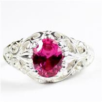 Created Pink Sapphire, 925 Sterling Silver Ladies Ring, SR113