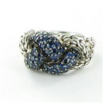 John Hardy Classic Chain Lava Small Braided Blue Sapphire Ring Sz 7 New $1100