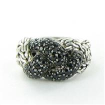 John Hardy Classic Chain Lava Small Braided Black Sapphire Ring Sz 7 New $695