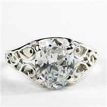 Cubic Zirconia, 925 Sterling Silver Ring, SR005