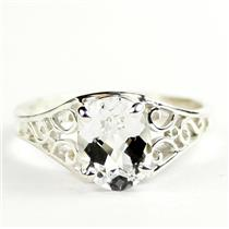 Silver Topaz, 925 Sterling Silver Ladies Ring, SR005
