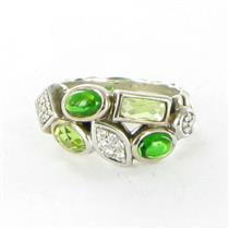 David Yurman Confetti Ring Sz 7 Diamonds 0.16ct Tourmaline Prasiolite 925 Estate