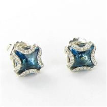 John Hardy Batu Classic Chain London Blue Topaz Stud Earrings Sterling New $1500