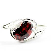 Garnet CZ, 925 Sterling Silver Ring, SR186