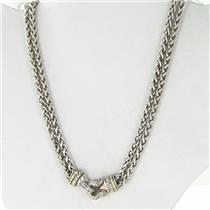 David Yurman Double Wheat Chain Diamond Buckle Necklace 0.40cts 18k YG Sterling