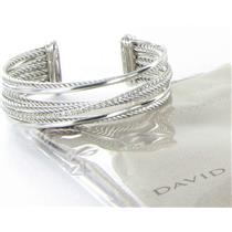David Yurman Crossover Diamond Cuff Bracelet 0.75cts 4Row Sterling 925 New $2400