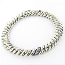 David Yurman Hampton 19mm Necklace  0.51cts Diamond Sapphires Sterling NWT $4200