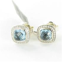 David Yurman Color Classics Stud Earrings Blue Topaz .26ct Diamond 925 NWT $1100