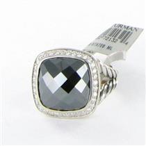 David Yurman Albion Ring 14mm Hematite Diamond 0.31cts Sterling Sz 7 NWT $1475