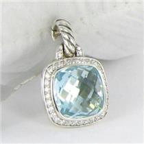 David Yurman Albion Enhancer 11mm Blue Topaz Diamond 0.22cts Sterling NWT $1050