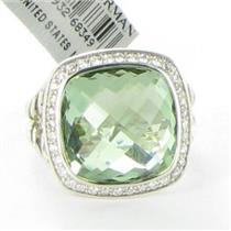David Yurman Albion 14mm Prasiolite 0.30cts Diamonds Sterling Sz 7 NWT $1550