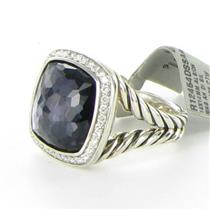 David Yurman Albion Ring 14mm Amethyst Hematite 0.30 Diamonds Sterling NWT $1725