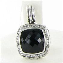 David Yurman Albion Enhancer Pendant 14mm Black Onyx Diamond 0.30cts Sterling