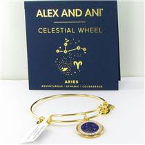 Alex and Ani Aries Celestial Wheel Shiny Gold Bangle Bracelet A15EB58YG NWT Box