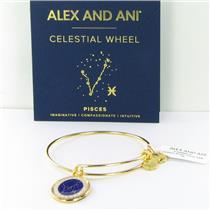 Alex and Ani Pisces Celestial Wheel Shiny Gold Bangle Bracelet A15EB65YG NWT Box