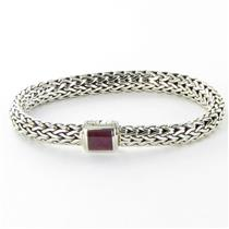 John Hardy Classic Chain 7.5mm Bracelet Indian Ruby Clasp Sterling 925 New $895