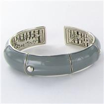 John Hardy Bamboo 17.5mm Kick Cuff Bracelet Gray Enamel Sterling 925 New $1100